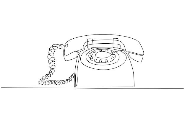 Ononderbroken lijntekening van vintage retro telefoonschetsvector