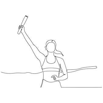 Ononderbroken lijntekening van vrouw die estafetterace doet die op witte vectorillustratie wordt geïsoleerd als achtergrond