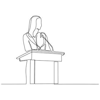 Ononderbroken lijntekening vrouwelijke spreker die toespraak vectorillustratie geeft