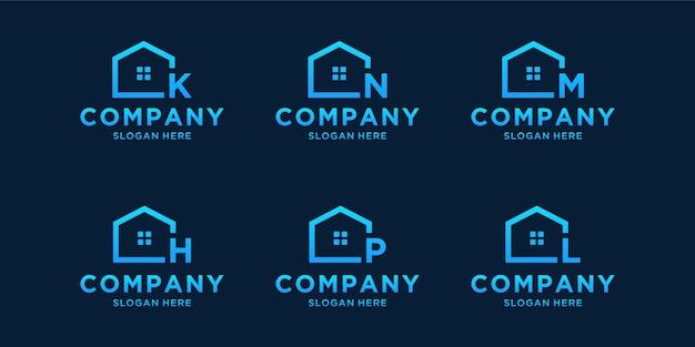 Onroerend goed bedrijf logo sjabloon. beginletter blauw logo set