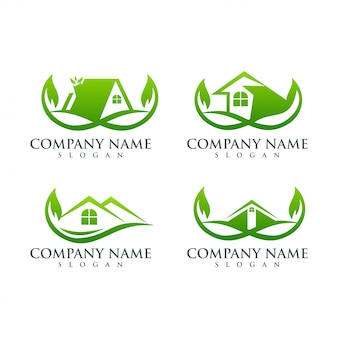 Onroerend goed blad logo ontwerp