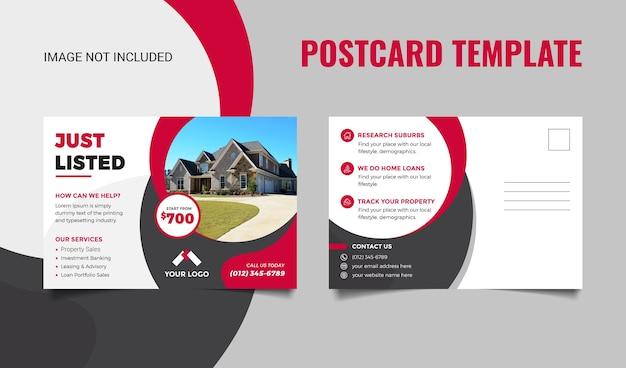 Onroerend goed briefkaartsjabloon voor onroerend goed bedrijf