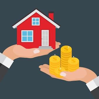 Onroerend goed concept. koop een huisposter met mannenhanden die geld betalen voor het huisgebouw. illustratie
