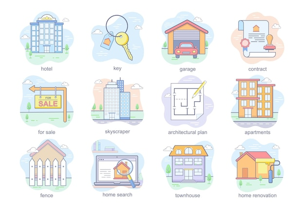 Onroerend goed concept plat pictogrammen set bundel hotel sleutel garage contract wolkenkrabber architectonisch plan...