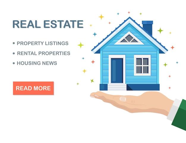 Onroerend goed, eigendom op menselijke hand. hypotheek, lening, huur van huis