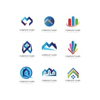 Onroerend goed en huis gebouwen vector logo pictogrammen sjabloon