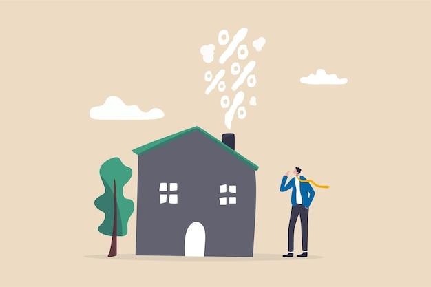 Onroerend goed en woninghypotheekrente, rentevoet voor huislening of -huur, onroerendgoedbelasting of bankkostenconcept, zakenmanhuiseigenaar die naar stijgend percentage rook uit huishaard kijkt. Premium Vector