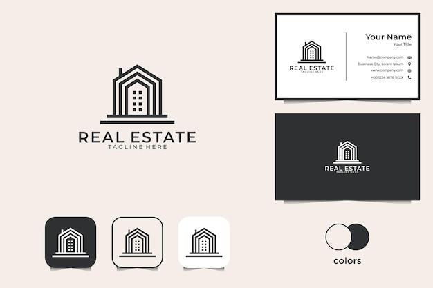 Onroerend goed gebouw logo-ontwerp en visitekaartje