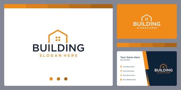 Onroerend goed gebouw logo ontwerpsjabloon en visitekaartje ontwerp.