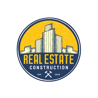 Onroerend goed gebouw logo - woningbouw aannemer identiteit venster dak home verbetering