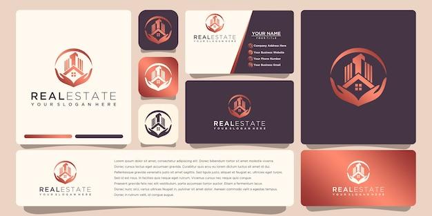 Onroerend goed gouden logo-ontwerp met visitekaartje