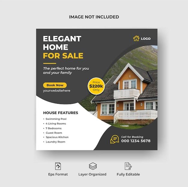 Onroerend goed huis eigendom instagram post of social media banner advertentiesjabloon premium vector