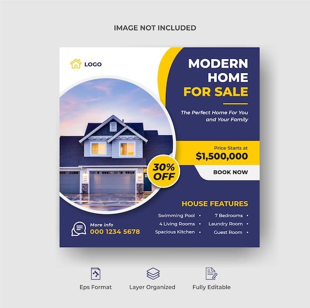 Onroerend goed huis eigendom instagram post of vierkante webbanner advertentiesjabloon premium vector