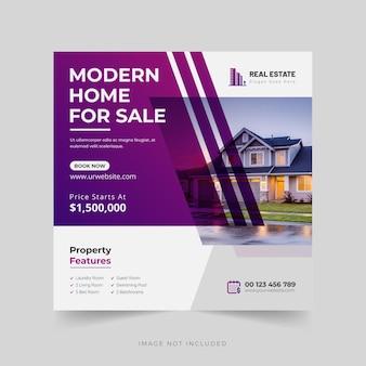 Onroerend goed huis eigendom instagram post of webbannersjabloon premium vector
