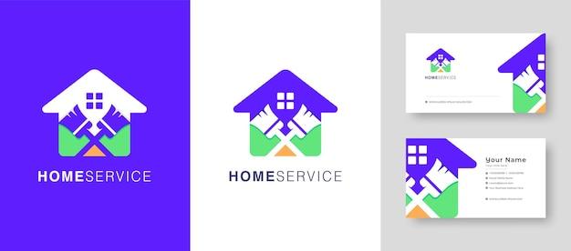 Onroerend goed huis logo fix reparatie huis of dorp vector logo design met een premium visitekaartje