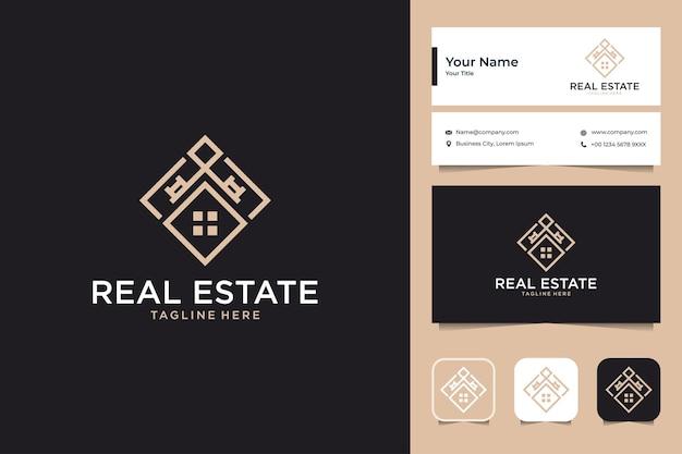 Onroerend goed huis met elegant logo-ontwerp en visitekaartje