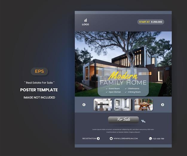 Onroerend goed huis te koop flyer poster sjabloon