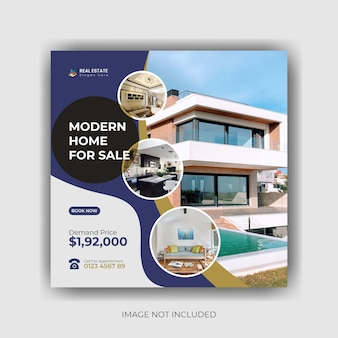Onroerend goed huis te koop social media post banner en vierkante flyer sjabloon premium vector