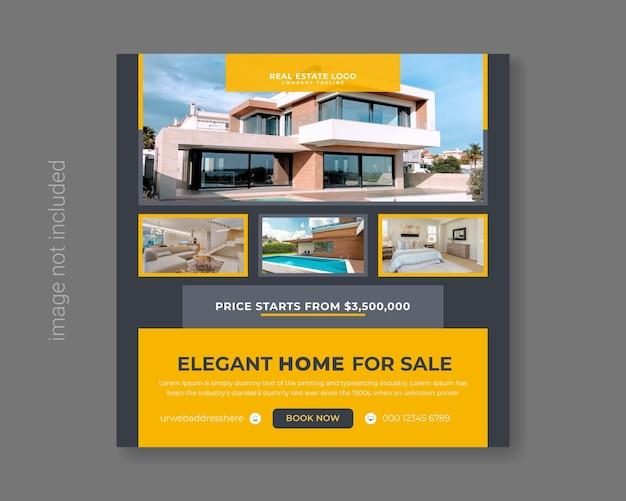 Onroerend goed huis te koop sociale media promotie premium vector