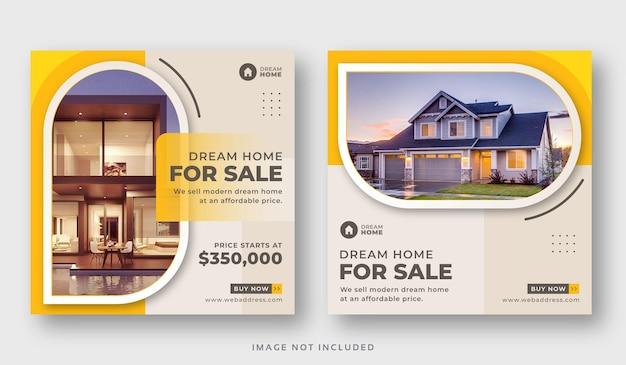 Onroerend goed huis verkoop banner of post op sociale media