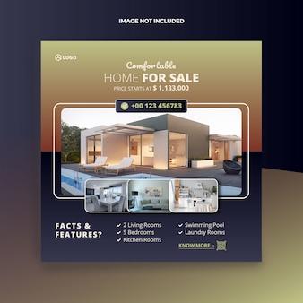 Onroerend goed huis verkoop social media post en webbanner