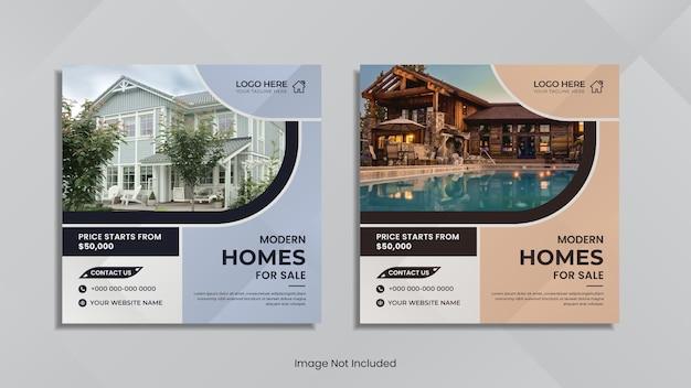 Onroerend goed huis verkoop sociale media plaatsen creatief ontwerp.
