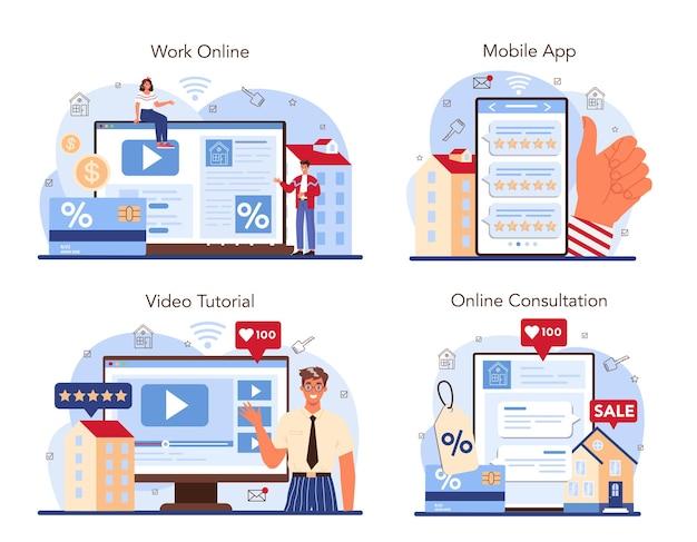 Onroerend goed industrie online service of platform set. positieve feedback
