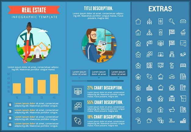 Onroerend goed infographic sjabloon, elementen, pictogrammen