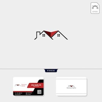 Onroerend goed logo en gratis visitekaartje ontwerp