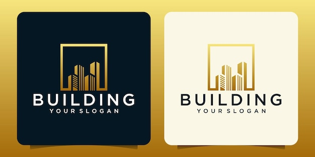 Onroerend goed logo met gouden kleur ontwerpsjabloon