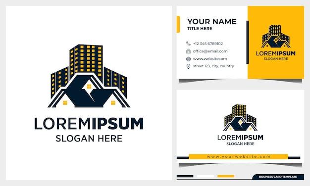 Onroerend goed logo ontwerp, architectuur gebouw met sjabloon voor visitekaartjes