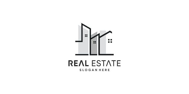 Onroerend goed logo-ontwerp met modern en uniek concept premium vector