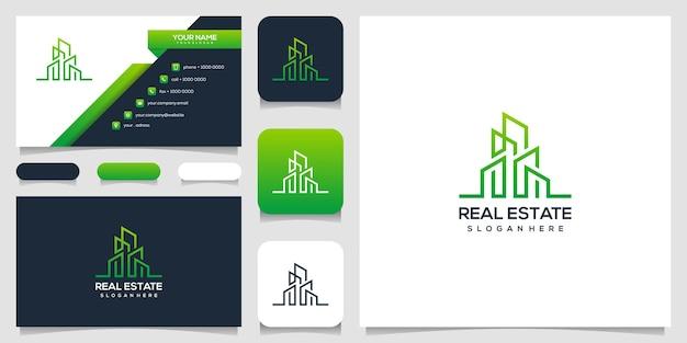 Onroerend goed logo ontwerp met visitekaartje