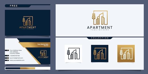 Onroerend goed logo wolkenkrabber zakelijke abstract vector ontwerpsjabloon lineair
