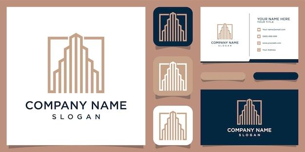 Onroerend goed met lijntekeningen die goed zijn voor het bedrijfsleven, de bouw, de constructie, het merk, de reclame en het visitekaartje