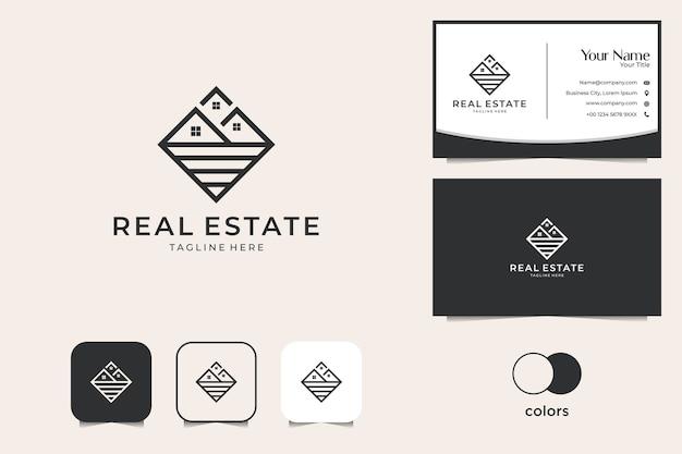 Onroerend goed met lijntekeningen logo-ontwerp en visitekaartje