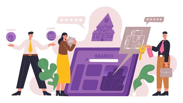 Onroerend goed online app zoeken concept. huisaanbieding, onroerend goed zoeken en kopen van mobiele app vectorillustratie. appartementen of huizen zoeken. zoek onroerend goed huis