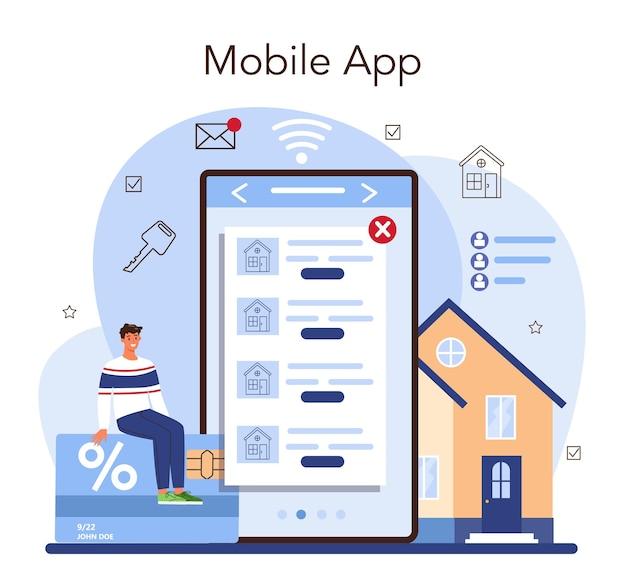 Onroerend goed online service of platform. gekwalificeerde en betrouwbare makelaar garanderen een aankoop van onroerend goed. applicatie voor de mobiele telefoon. platte vectorillustratie