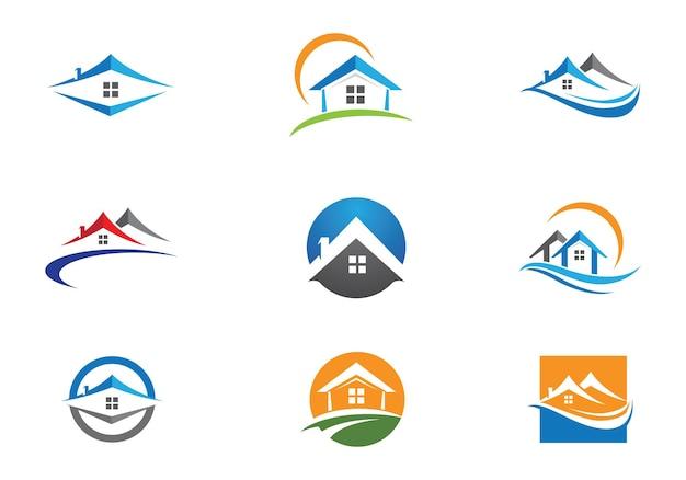 Onroerend goed, onroerend goed en bouw logo ontwerp voor zakelijke corporate sign. vectorlogo