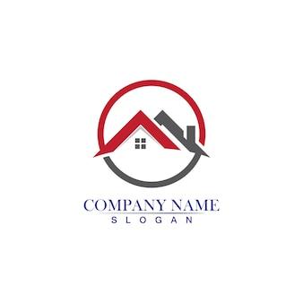 Onroerend goed, onroerend goed en constructie logo ontwerp pictogram