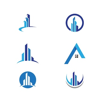 Onroerend goed, onroerend goed en constructie logo-ontwerp