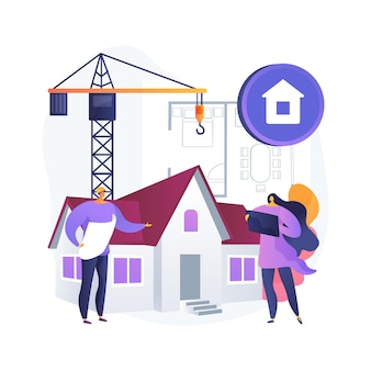 Onroerend goed ontwikkeling abstract concept illustratie. vastgoedontwikkeling, onroerend goed deal, land kopen, bouwproject, bedrijfsbeheer, bedrijfsplanning