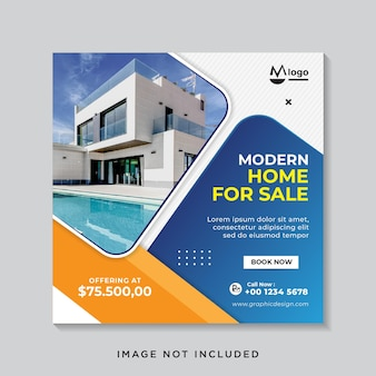 Onroerend goed verkoop sociale media banner of vierkante flyer-sjabloon