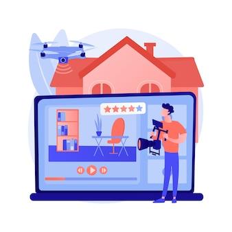 Onroerend goed video tour abstract concept vectorillustratie. vastgoedmarketing, online streaming drone-video, promotionele opnamen, open huis, volledig bewegende abstracte metafoor.