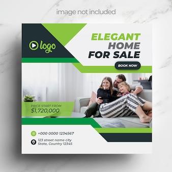 Onroerend goed vierkante flyer of banner voor instagram