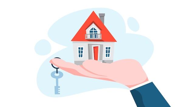 Onroerende goederenagent concept. huis te koop aanbieden.