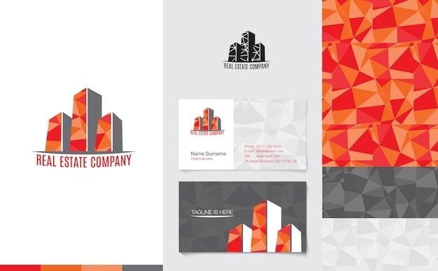 Onroerende goederenembleem met handelsnaamkaart en collectief patroon in moderne lage polystijl, het brandmerken concept