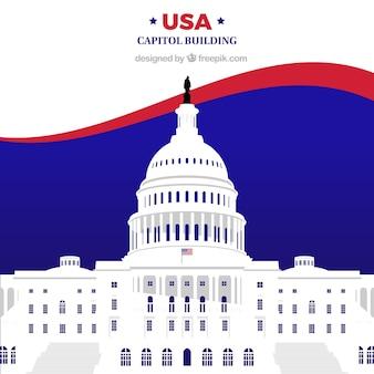 Ons congresgebouw met een plat ontwerp Gratis Vector