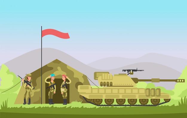Ons leger soldaat met pistool in uniform. cartoongevecht. militaire achtergrond