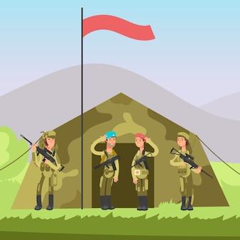 Ons leger soldaat met pistool in uniform.